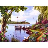 Картина раскраска по номерам на холсте - 40*50см Идейка MG024 Яхта у причала