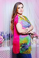 Блуза атласная с сеткой цвет принт арт АЛЕКС розовая