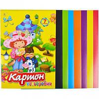 Цветной картон А4 7 листов «Коленкор» (арт.CK7L)