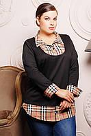Рубашка с имитацией джемпера (клетка) СИМОНА черный