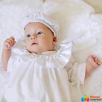 Берет для крещения Mimino Славянский, цвет белый-серебро