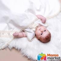Крыжма для крещения утепленная Mimino Иза, цвет молочный