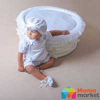 Берет для крещения Mimino Марк, цвет белый