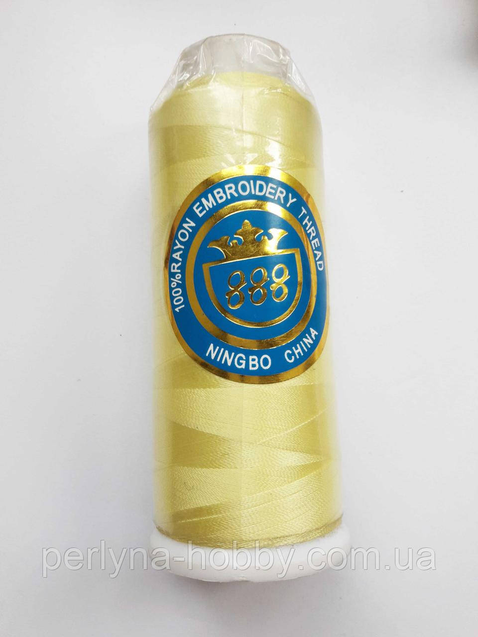 Нитки для машинної вишики 100% віскоза (100% rayon) 3000 ярд, № 359, жовтий світлий, лимонний