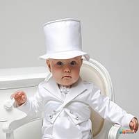 Костюм тройка для крещения с ФРАКОМ Mimino Маленький джентльмен, цвет белый