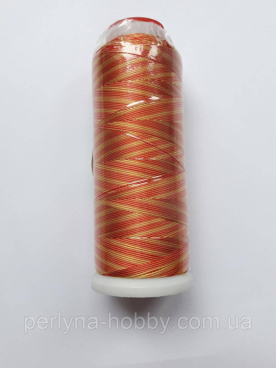 Нитки для машинної вишики меланж 100% віскоза (100% rayon) 3000 ярдів, № 012, жовто-червона