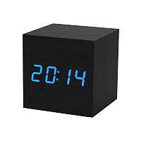 """Часы-будильник-термометр синие цифры """"Деревянный куб"""" 3 цвета корпуса, фото 1"""