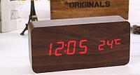 Часы-будильник деревянные, прямоугольная форма, фото 1
