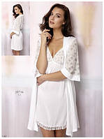 Халат домашний белый на запах с рукавом Relax mode вискоза.