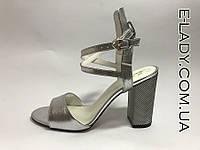 Босоножки серебро натуральная кожа на устойчивом каблуке