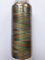 Нитки для машинной вышивки меланж 100% вискоза (100% rayon) 3000 ярдів, № 058, оранжева-червона-зелена-бірюза