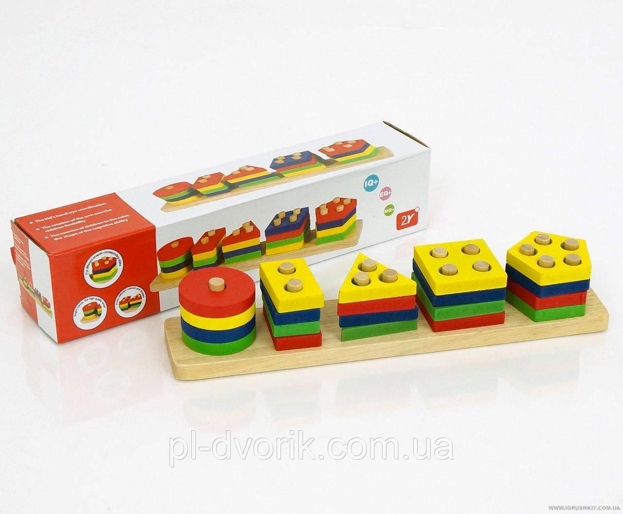 """Деревянная игра """"Пирамидка-Сортёр"""" 0368 (70) в коробке  Длина:31 см  Ширина:6 см  Высота:7 см  цена 107"""