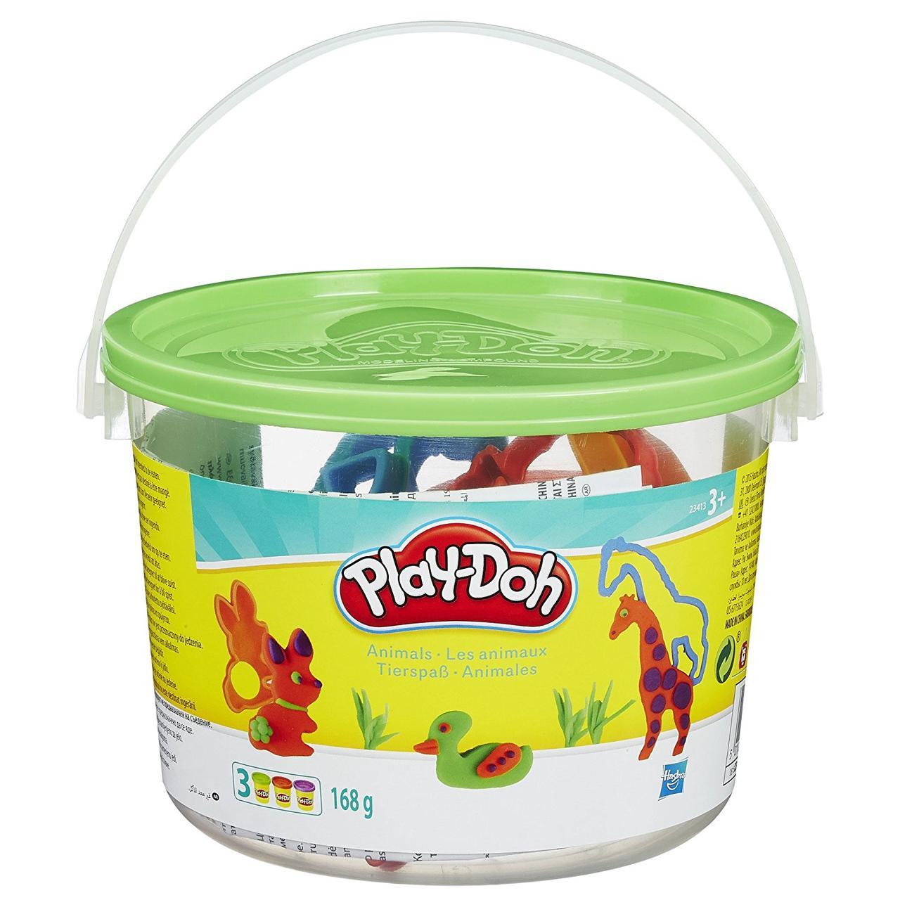 Игровой набор ведерко пластилина Play-doh Животные. Оригинал Hasbro 23413/23414