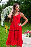 Стильное платье на молнии (красное)