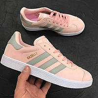 Кроссовки Adidas Gazelle Pink / Light Green Живое фото. Топ качество! (адидас газель)