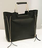 Женская сумка черного цвета с двумя змейками B.Elit