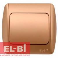 Выключатель 1-клавишный матовое золото EL-BI Zirve Silverline 501-011301-200