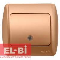 Выключатель 1-клавишный с подсветкой.LED матовое золото EL-BI Zirve Silverline 501-011301-201