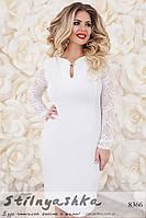 Нарядное платье с гипюром большого размера белое