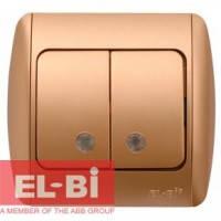 Выключатель 2-клавишный с подсветкой.LED матовое золото EL-BI Zirve Silverline 501-011301-203