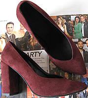 Venty женские стильные туфли каблук 10см марсала замш босоножки взуття