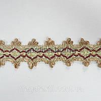 Бахрома бледно-салатовый с бордовый ромбами (в.849г)