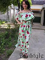 Платье в пол в цветах с разрезами
