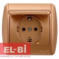 Розетка с заземлением с крышкой матовое золото EL-BI Zirve Silverline 501-011301-218