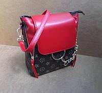 Стильная красная сумка-рюкзак с карманом Louis Vuitton тренд 2017 года