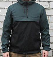 Куртка анорак  (ветровка) зелёно-чёрная