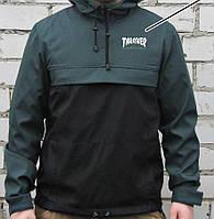 Куртка анорак Thrasher (ветровка) зелёно-чёрная