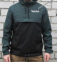 Куртка анорак Timberland (ветровка) зелёно-чёрная, фото 1