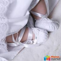 Пинетки для крещения Mimino Изабелла, цвет белый