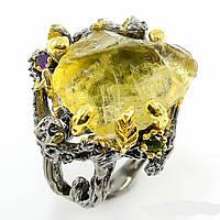 Серебряное кольцо ручной работы 925 пробы с натуральным неограненным лимонным кварцем. Размер 18,2