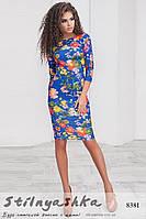 Облегающее платье с цветами индиго