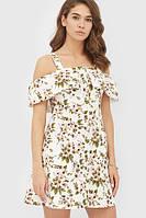 Літнє бежеве лляне плаття в квітку Emmy