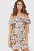 Літнє сіре лляне плаття в квітку Emmy