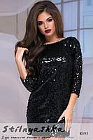 Платье из паетки черное
