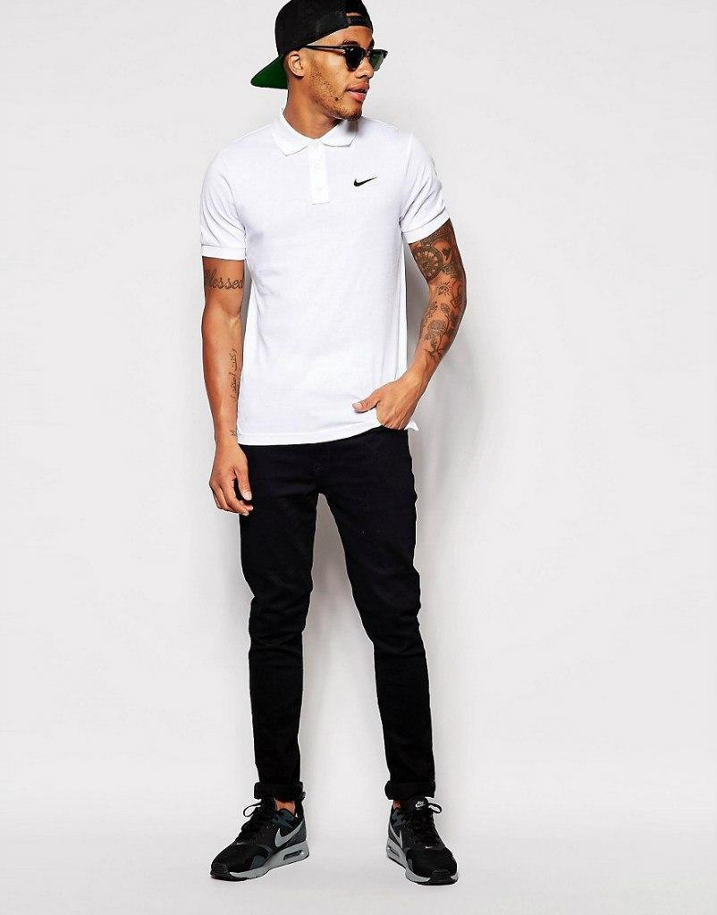 Белая мужская футболка поло nike