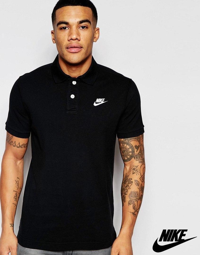 Мужская черная футболка поло nike