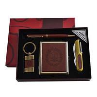 Подарочный набор портсигар/нож/ручка/брелок (кож) (YJ 6420)