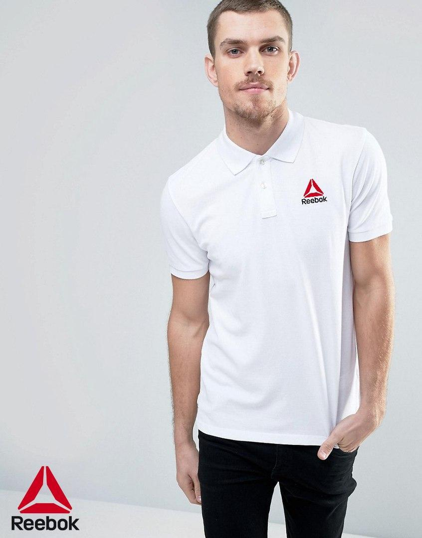 Мужская белая футболка поло reebok