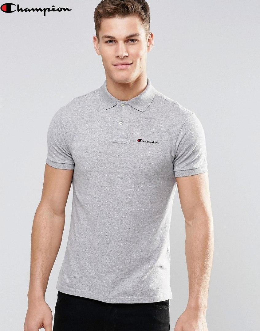Серая мужская футболка поло champion