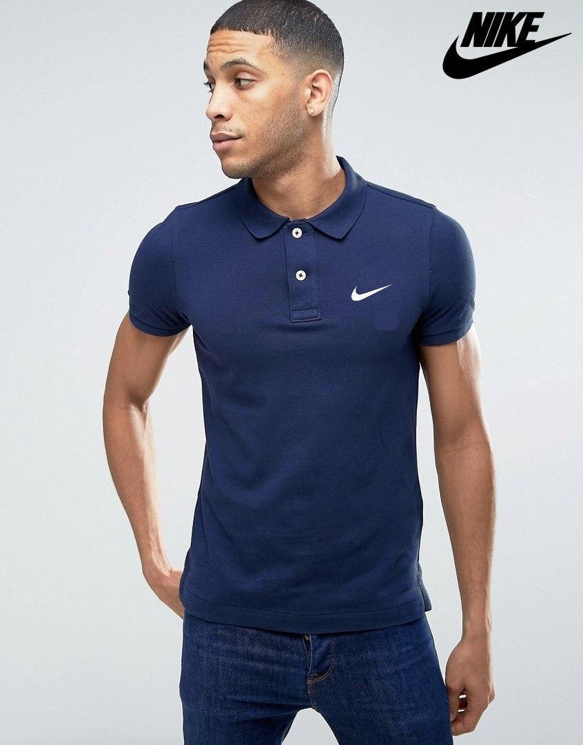 Синяя мужская футболка поло nike