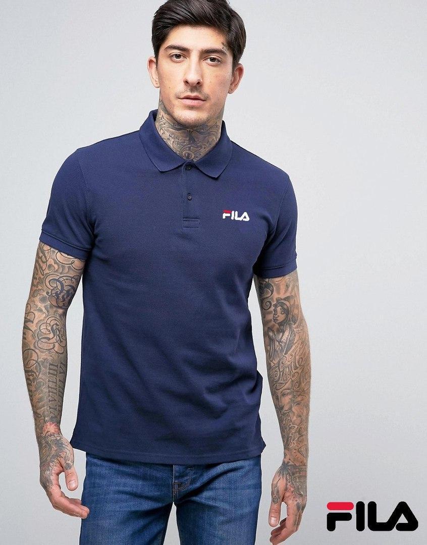 Синяя мужская футболка поло фила