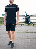 Футболка мужская черная поло Pobedov T-shirt insert Black