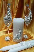 """Свадебные бокалы и свечи """"Ветка розы""""белая."""