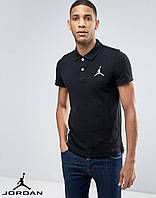 Молодежная черная футболка поло jordan