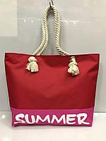 """Пляжная сумка 2415 женская текстильная """"summer"""" на канатах в разных цветах"""
