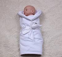Трикотажный конверт на выписку для малышей Лео (белый)